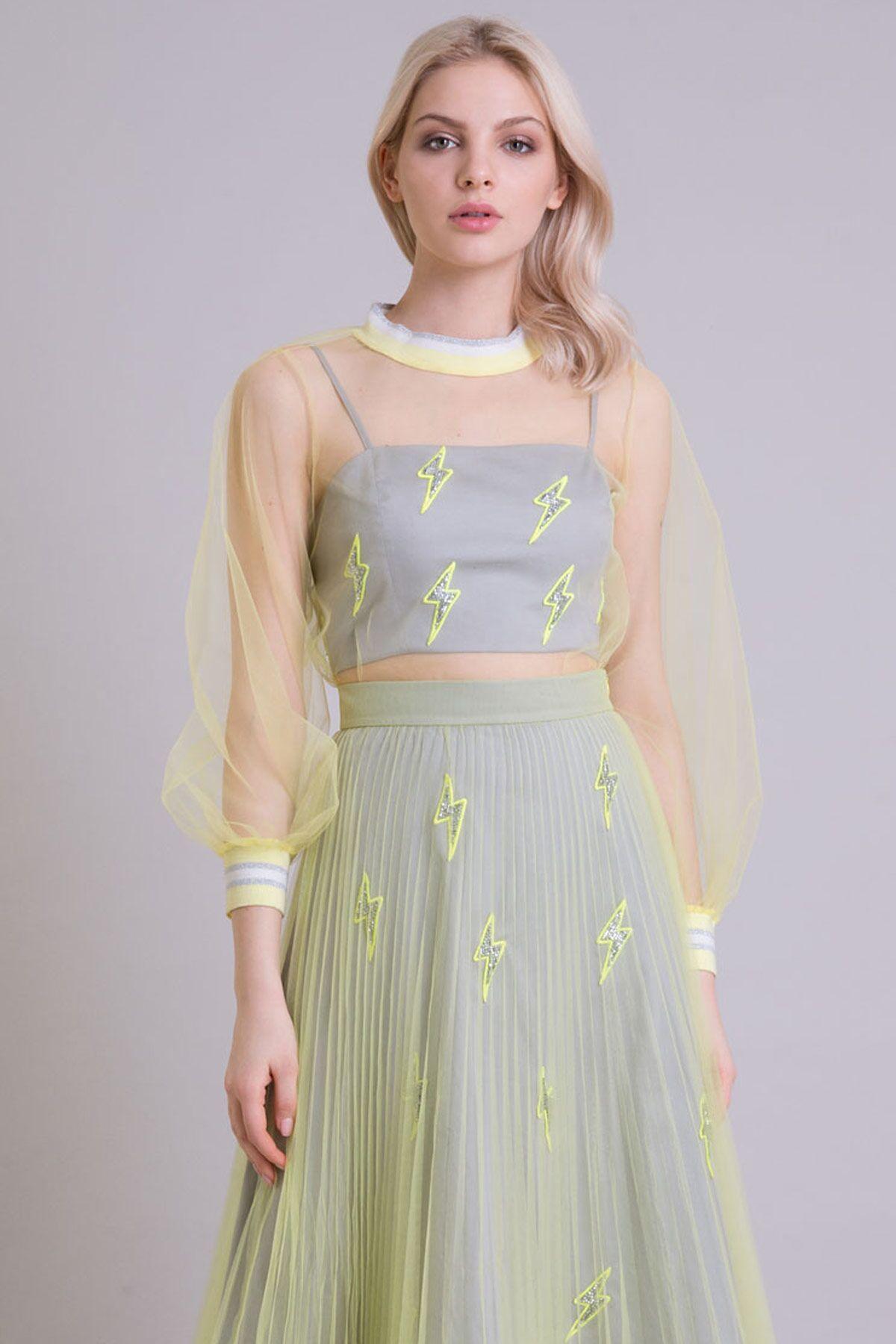 Triko Detaylı Neon Sarı Tül Sweatshirt