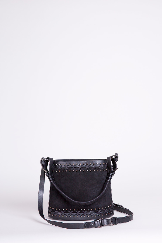 Trok Detaylı Siyah Bucket Deri Çanta