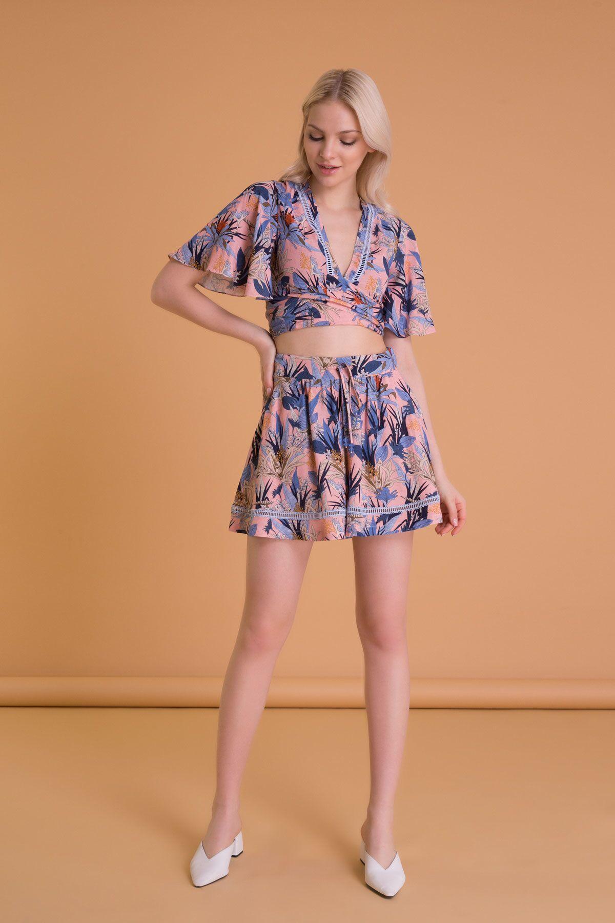 Tropical Pattern Back Tie Short Blouse