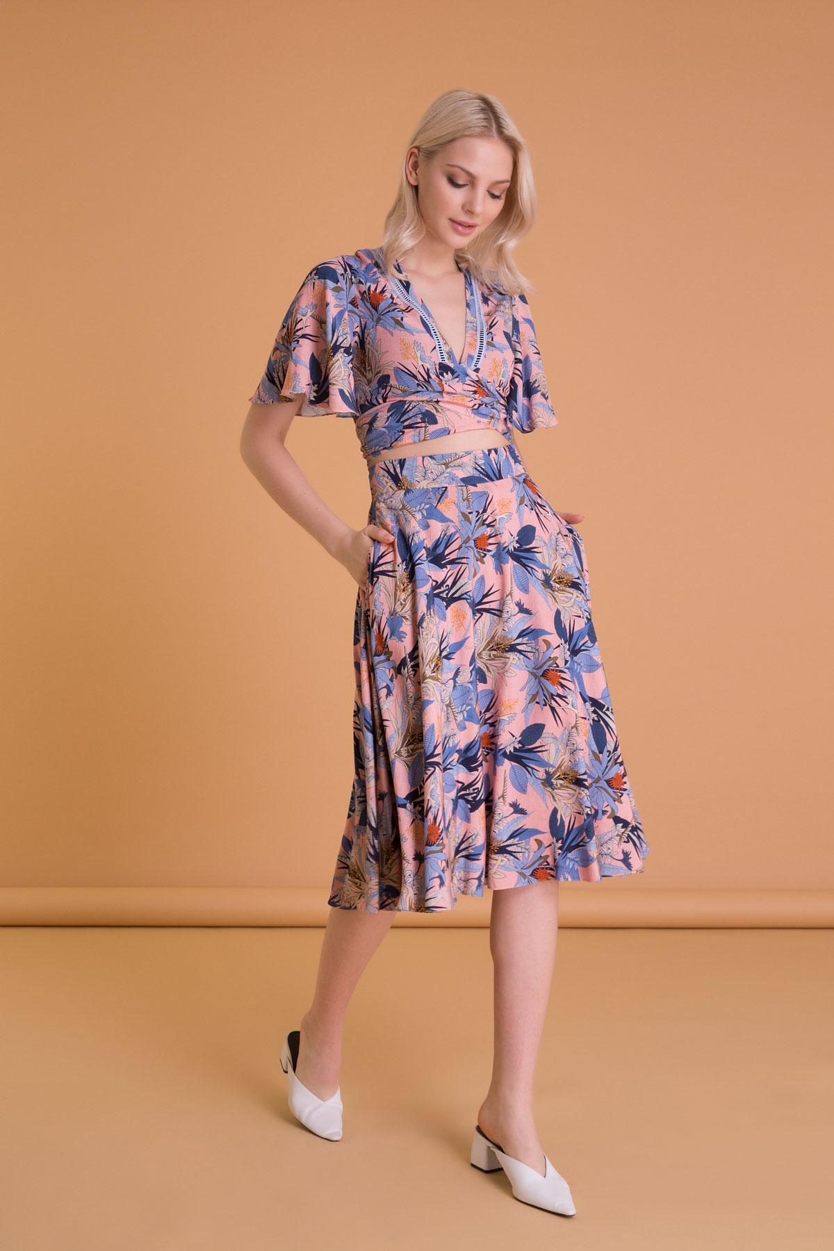 Tropical Pattern Mixed Color Pocket Midi Skirt