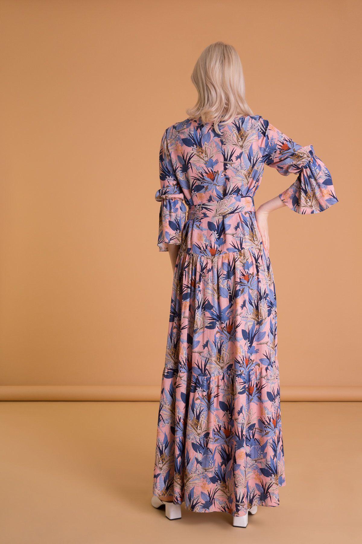 Tropik Desenli Karışık Renkli Uzun Elbise