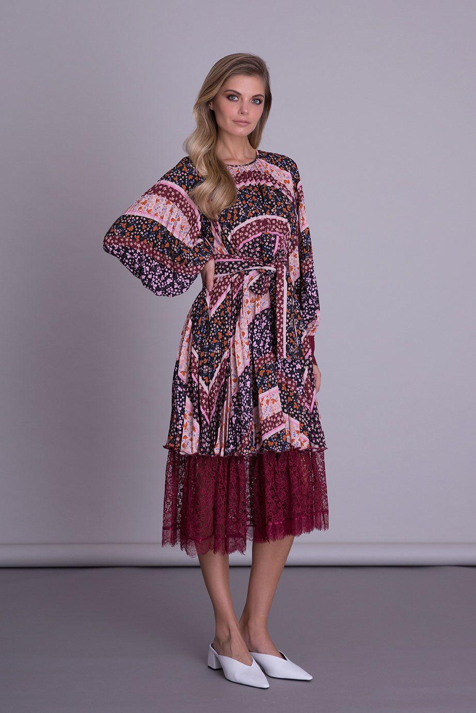 Tül Detaylı Çiçek Desenli Midi Elbise