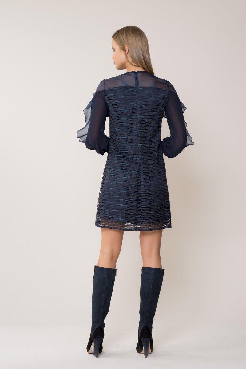 Tül Detaylı Lacivert Mini Elbise