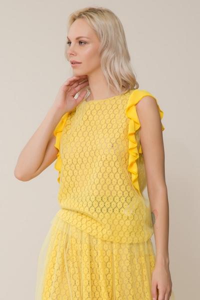 GIZIA CASUAL - Tül Detaylı Sarı Bluz
