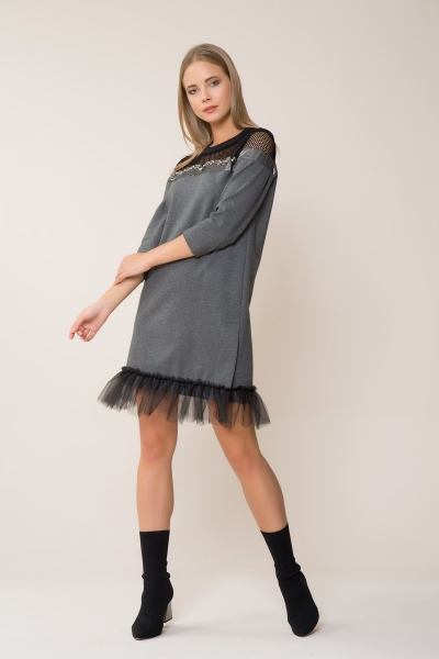 GIZIA - Tül Detaylı Spor Gri Mini Elbise