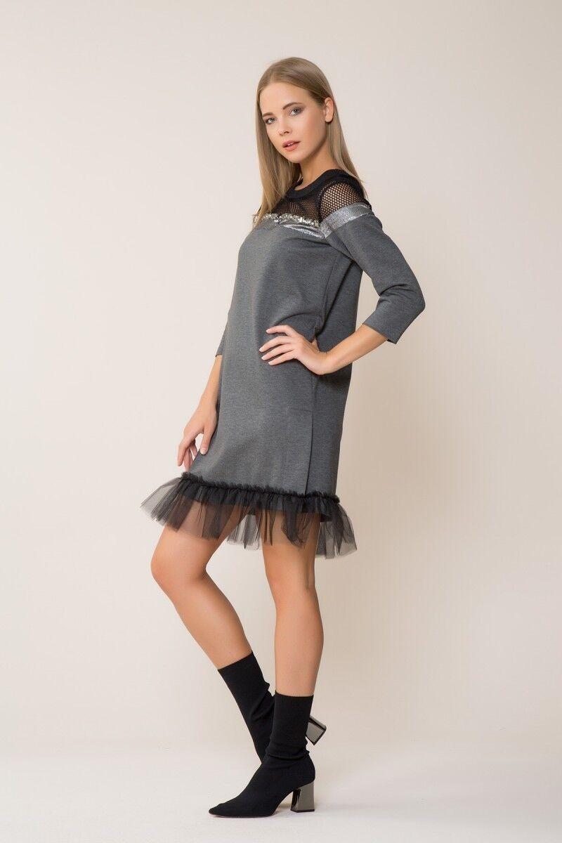 Tül Detaylı Spor Gri Mini Elbise