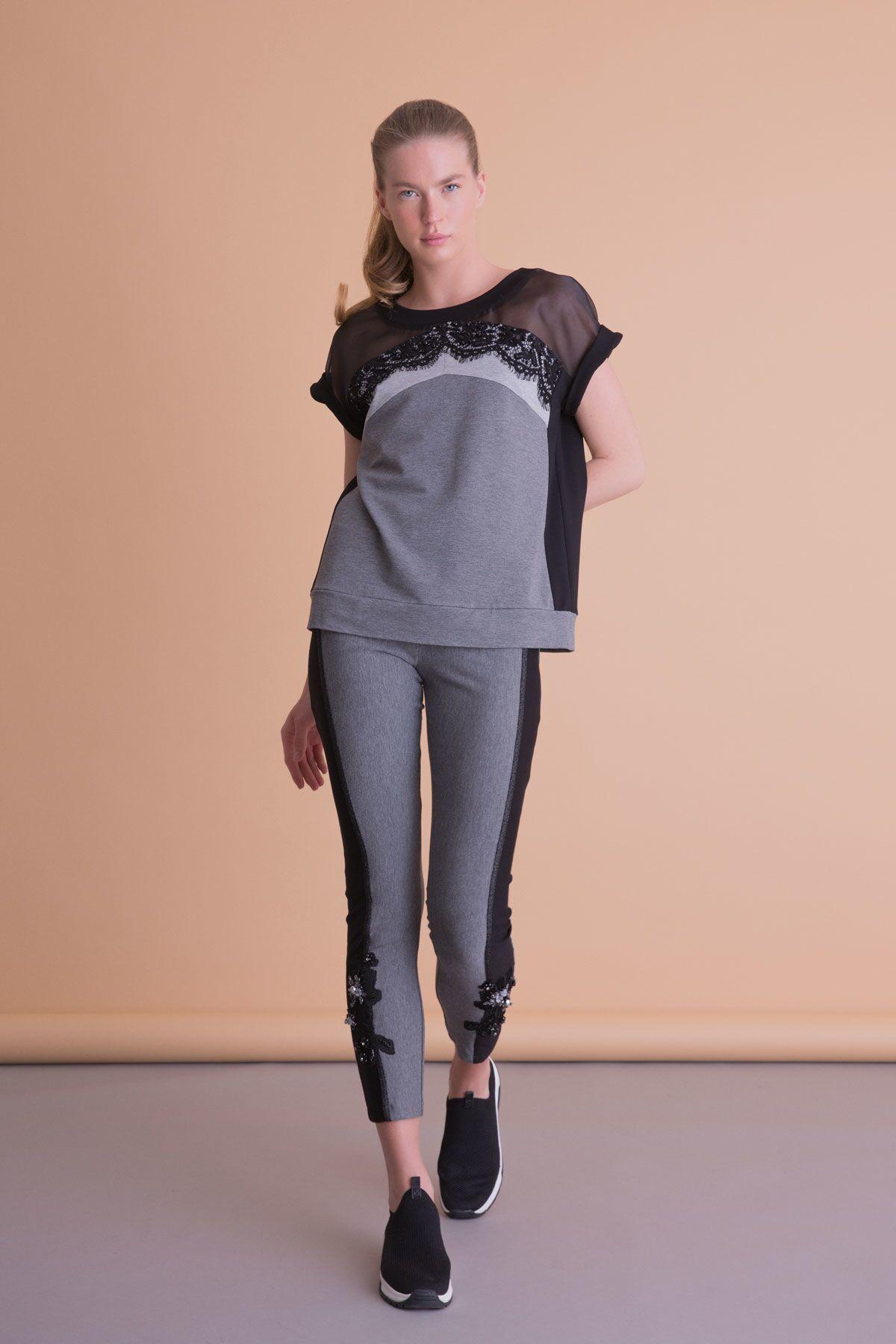 Tül ve Dantel Detaylı Siyah Gri Bluz