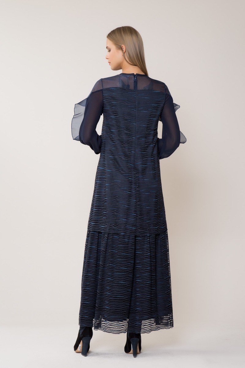 Tulle Detailed Navy Maxi Dress