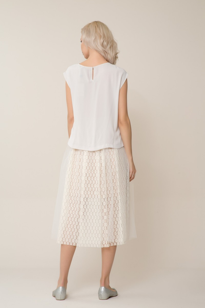 Tulle Detailed White Midi Skirt