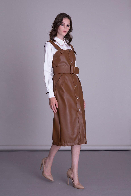 Tütün Rengi Suni Deri Askılı Elbise