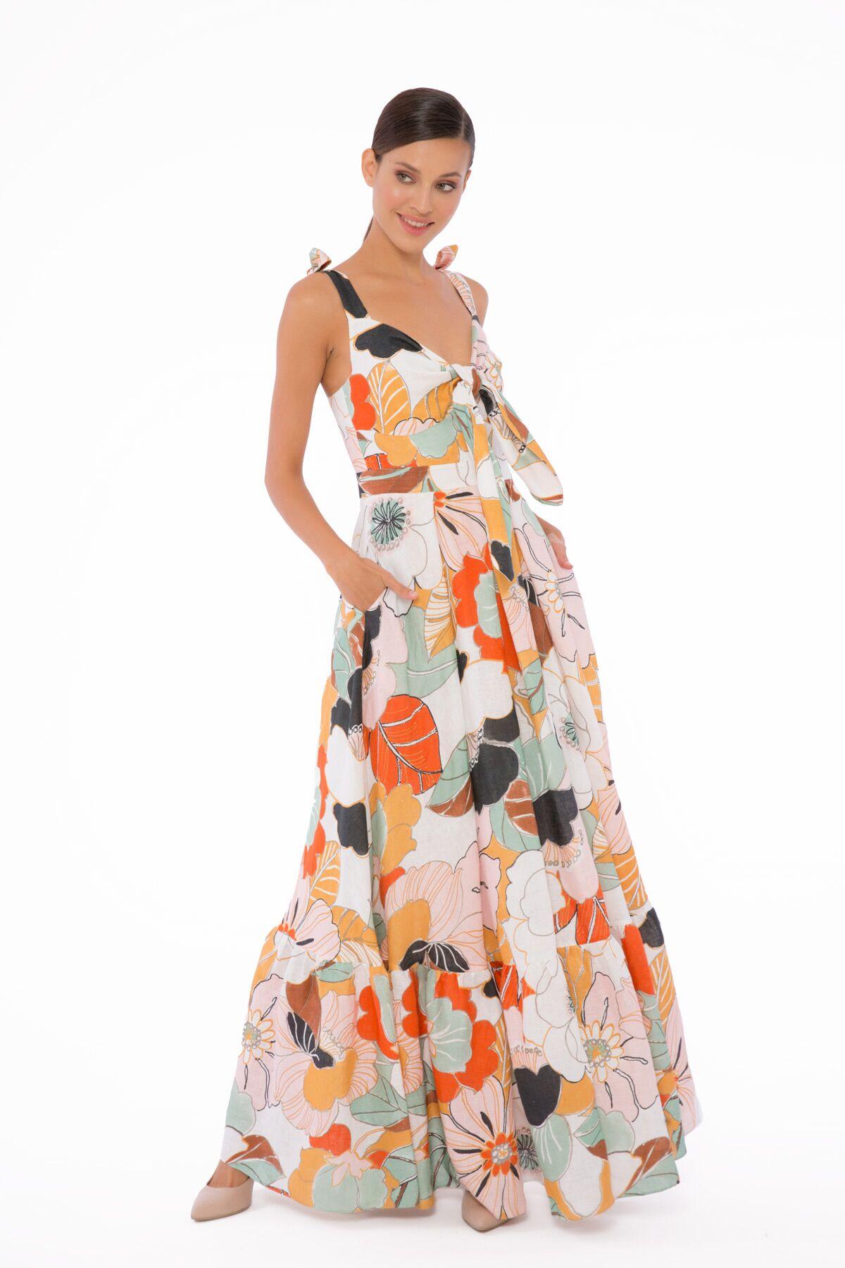 Uzun, Askılı, Keten Desenli Elbise