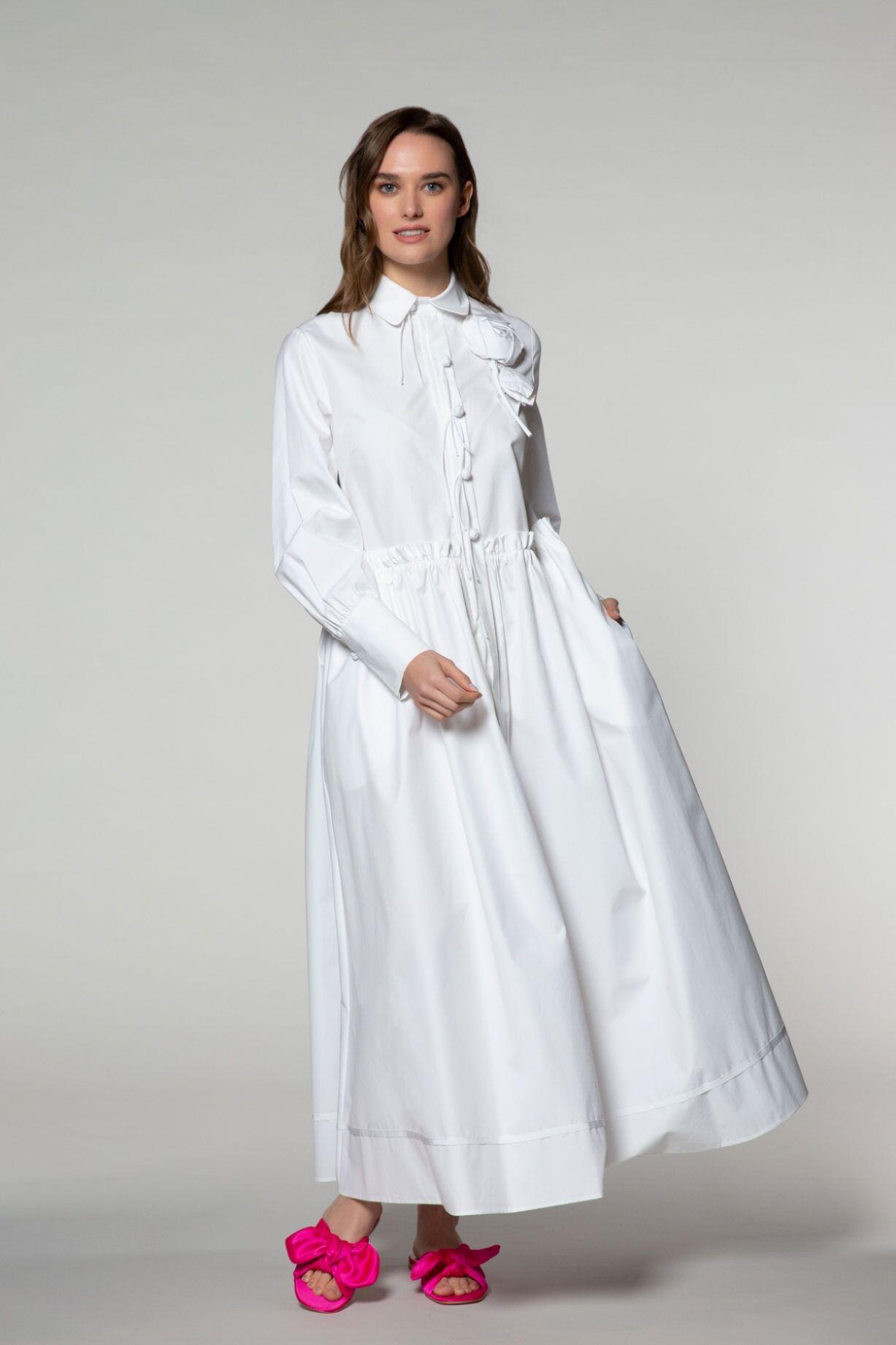 Uzun Kollu Cep Detaylı Gömlek Elbise