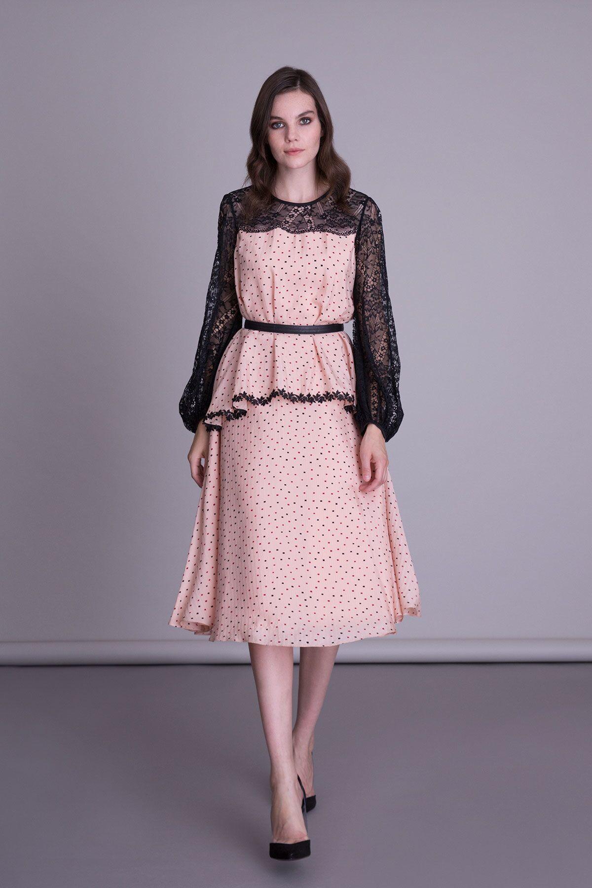 Uzun Kollu Kloş Elbise