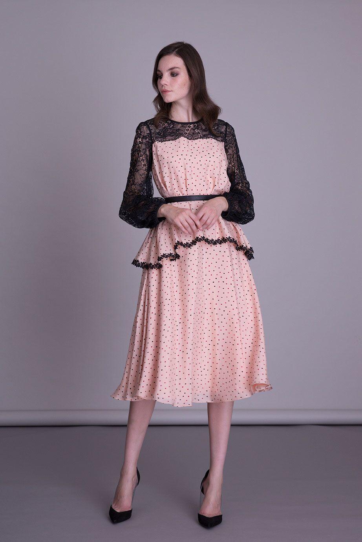 Uzun Kollu Kloş Pudra Rengi Midi Elbise