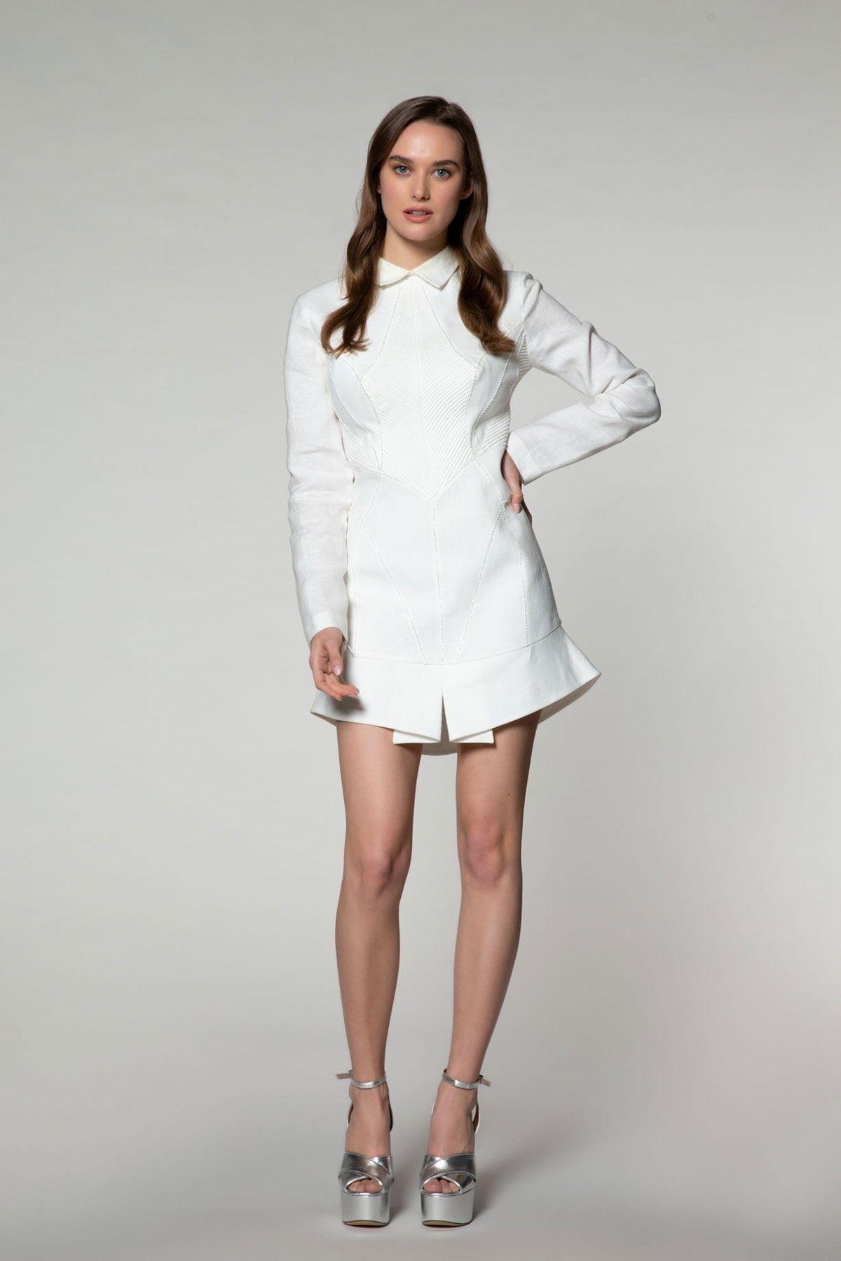 Uzun Kollu Mini Gömlek Elbise