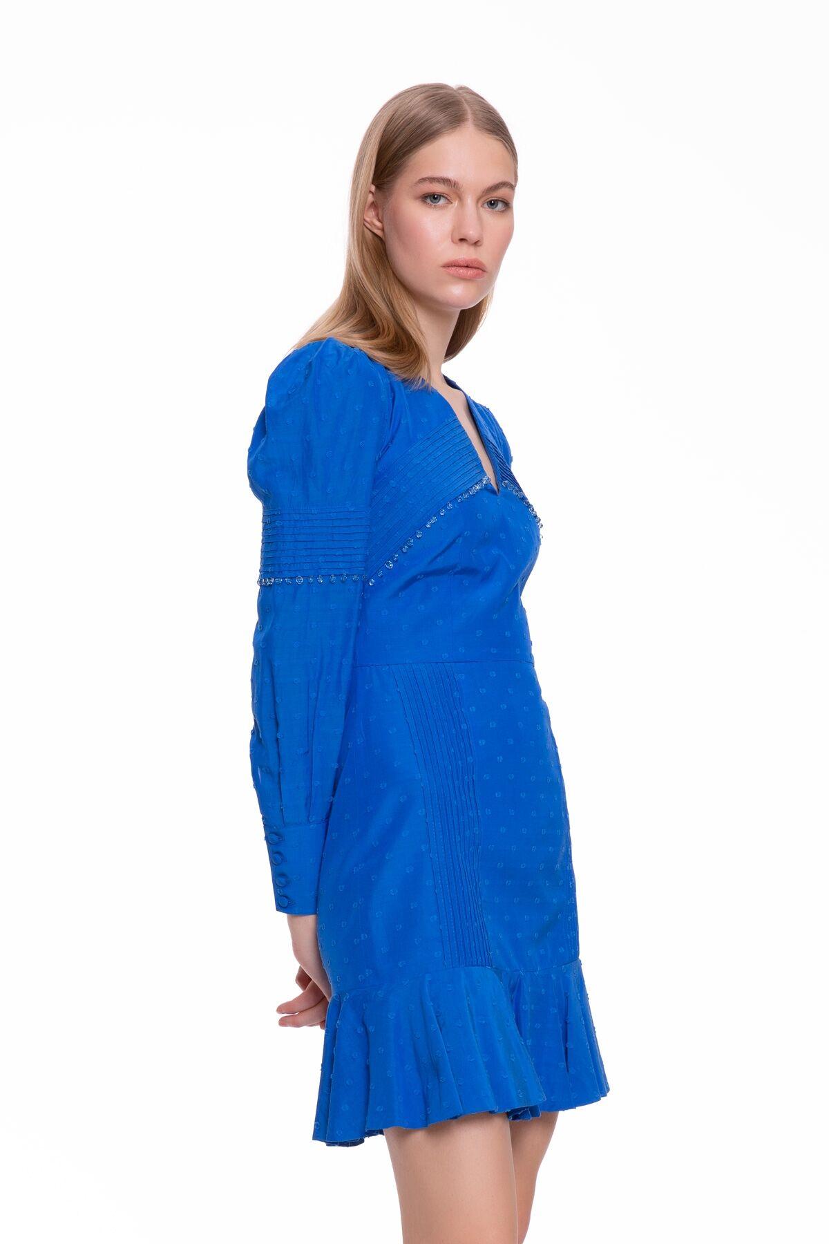 Uzun Kollu Saks Mavisi Mini Elbise