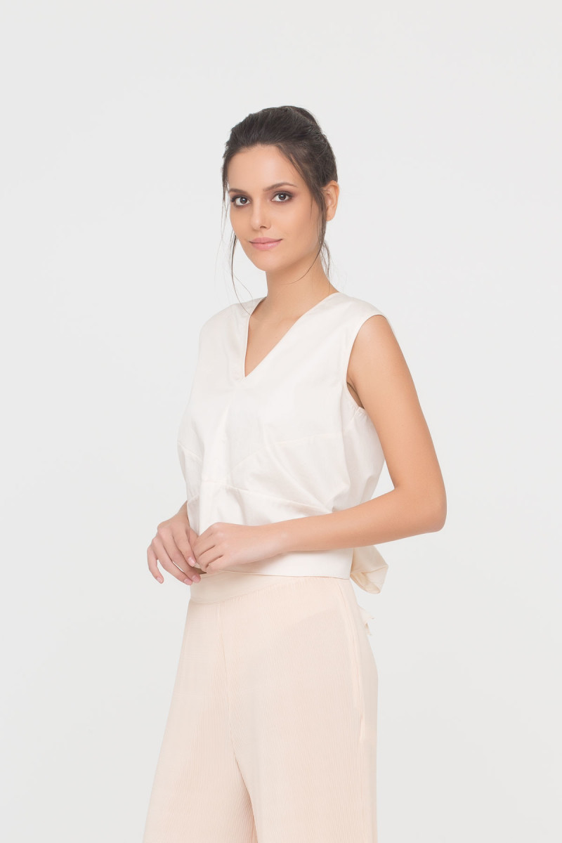 V-Neck Blouse With Ribbon Tie Back Detail