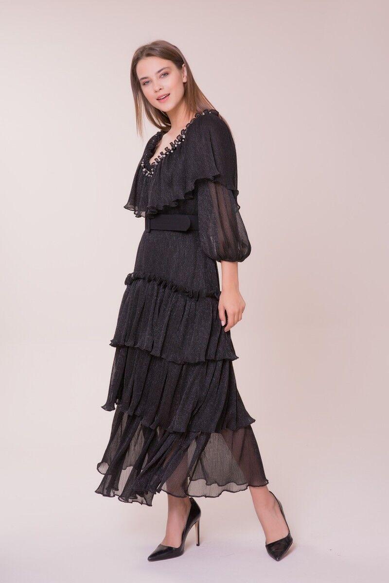 V Neck Collar Stone Detailed Dress