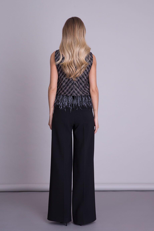 V Neck Strappy Tassel Detailed Black Tweed Blouse