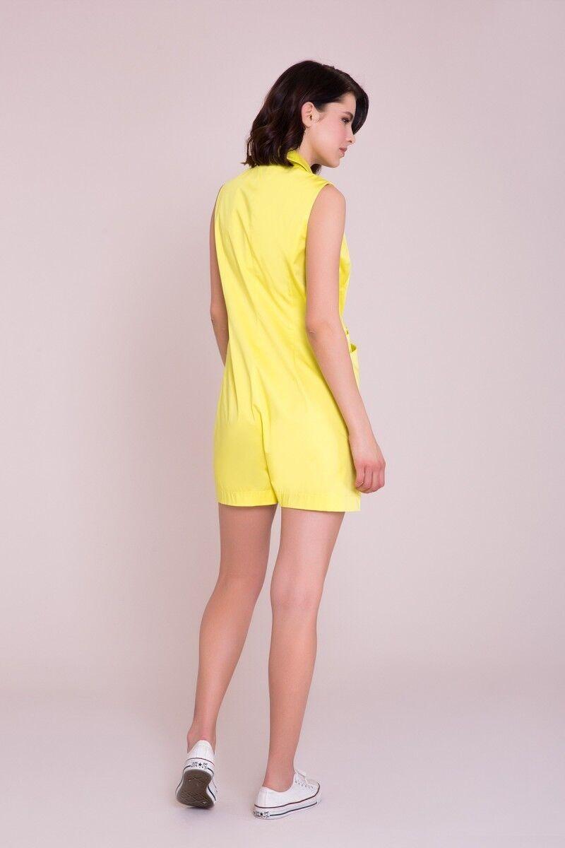 V-Neck Yellow Shorts Overalls