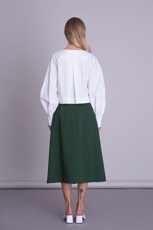 V Yaka Balon Kol Düğme Detaylı Beyaz Bluz