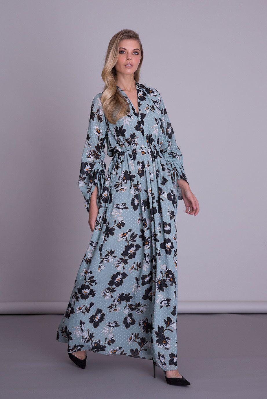 V Yaka Çiçek Desenli Mavi Uzun Elbise
