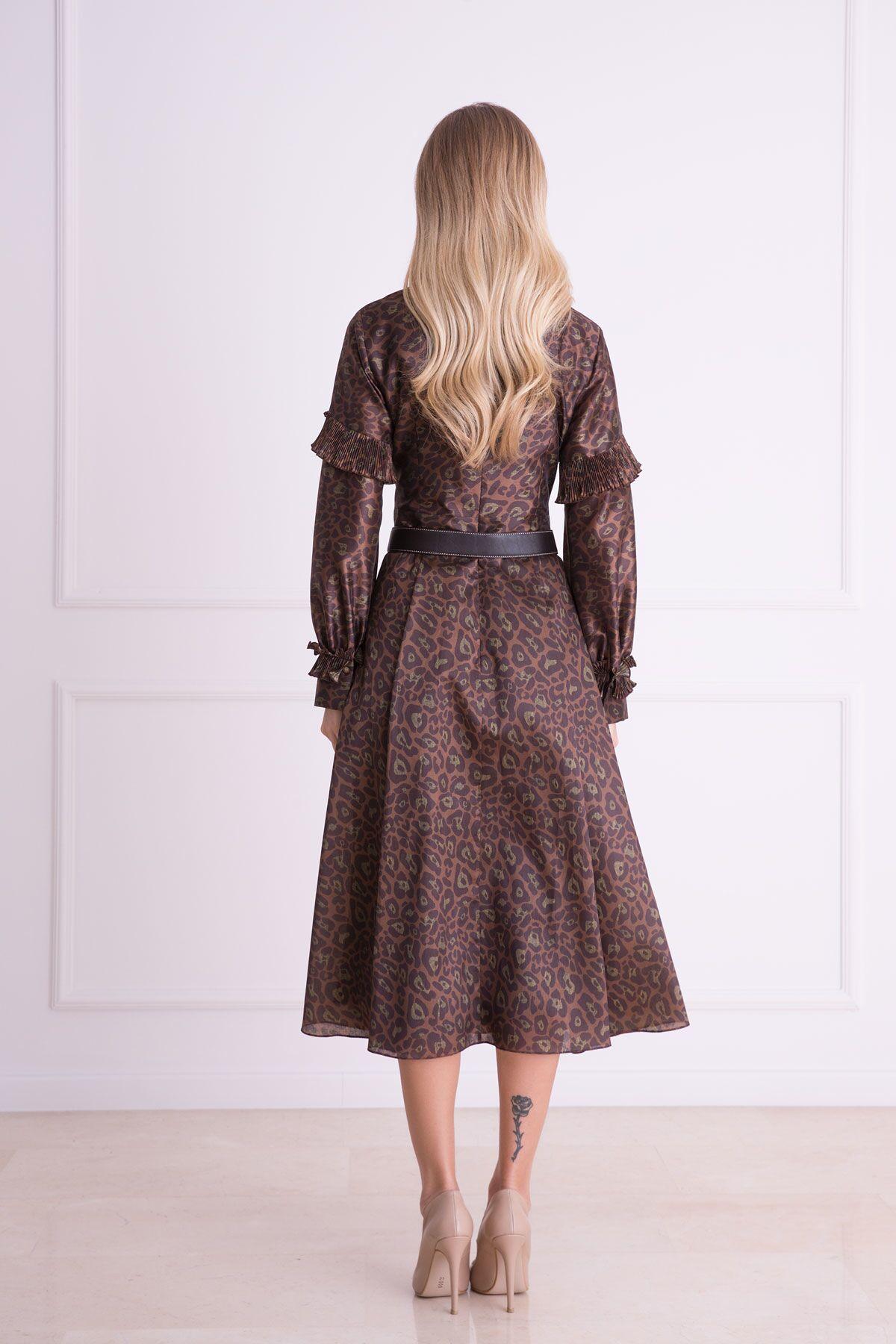 V Yaka Fırfır Detaylı Kahverengi Midi Elbise