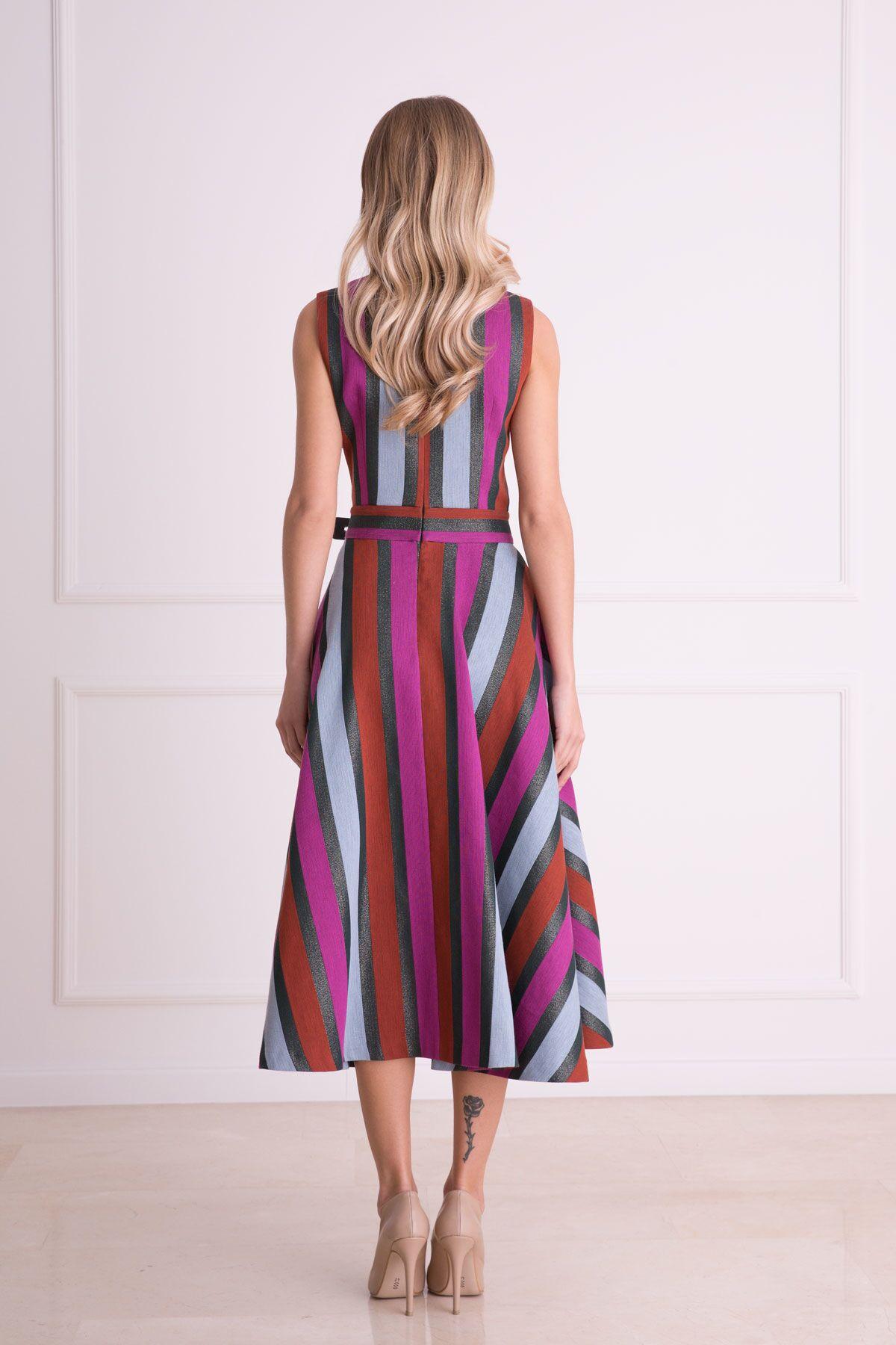 V Yaka Grafik Desenli Midi Elbise