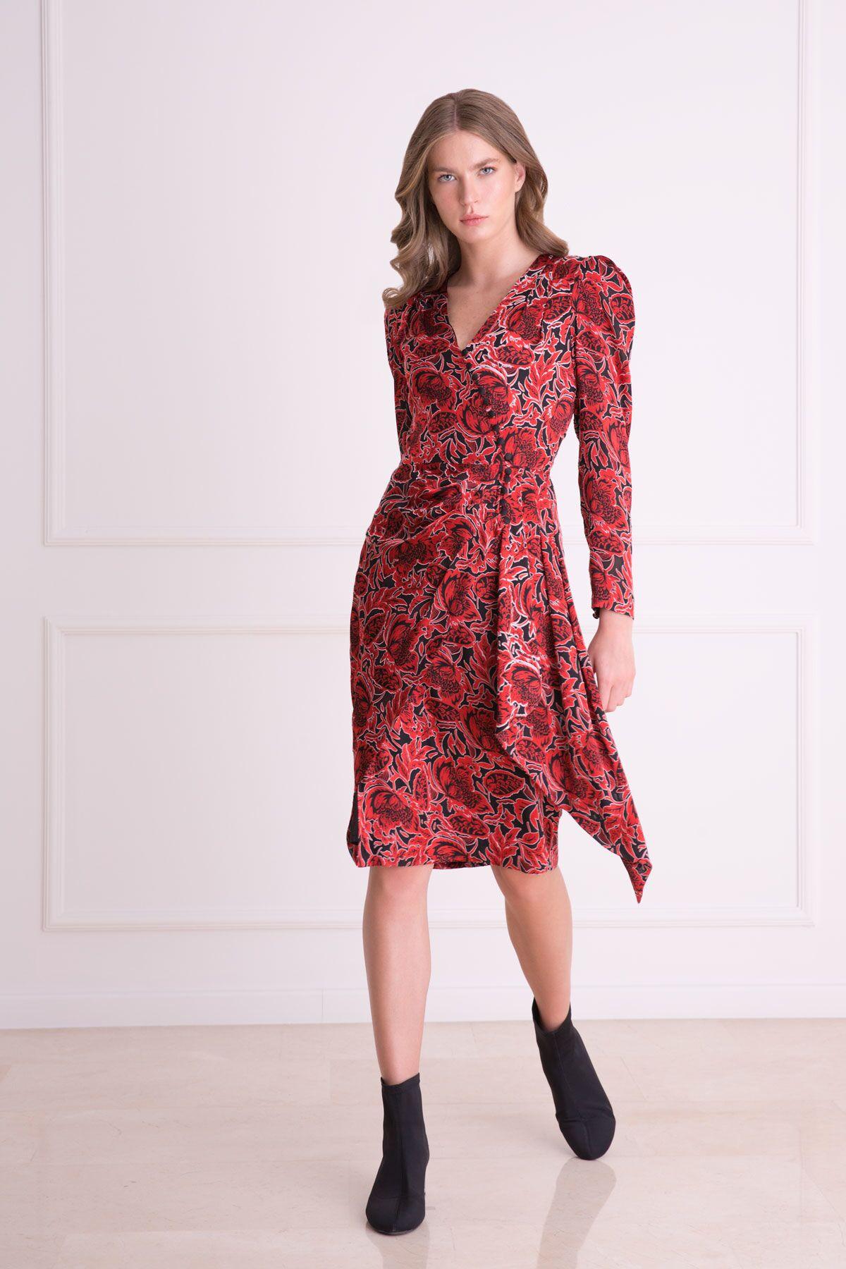 V Yaka Karpuz Kol Desenli Kırmızı Midi Elbise