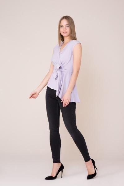 GIZIA CASUAL - V Yaka Kuşak Detaylı Lila Bluz