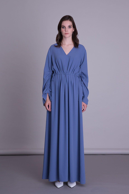 V Yaka Mavi Uzun Elbise