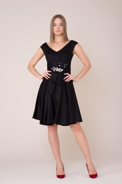 GIZIA - V Yaka Taş Detaylı Siyah Elbise