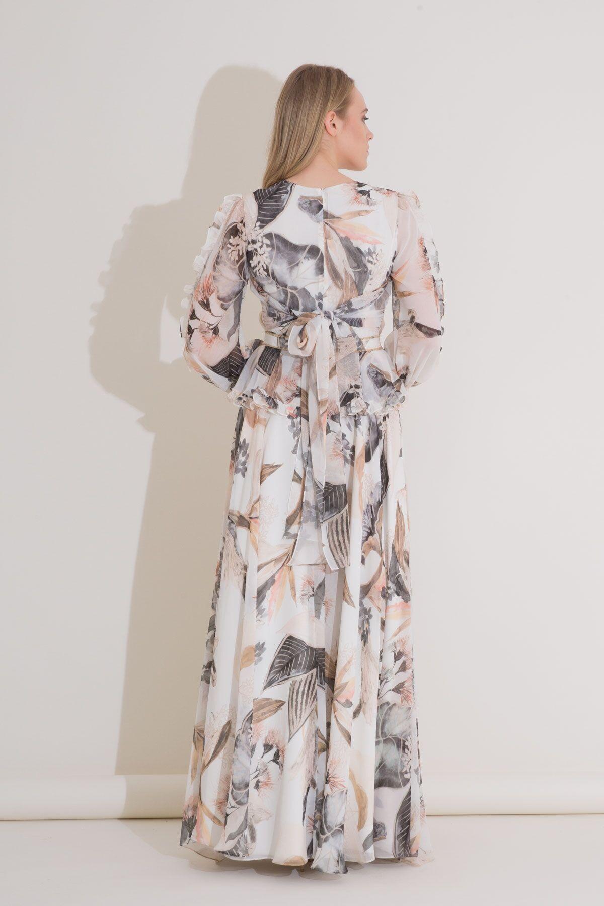 V Yaka, Uzun Kollu Fırfır Detaylı Şifon Elbise