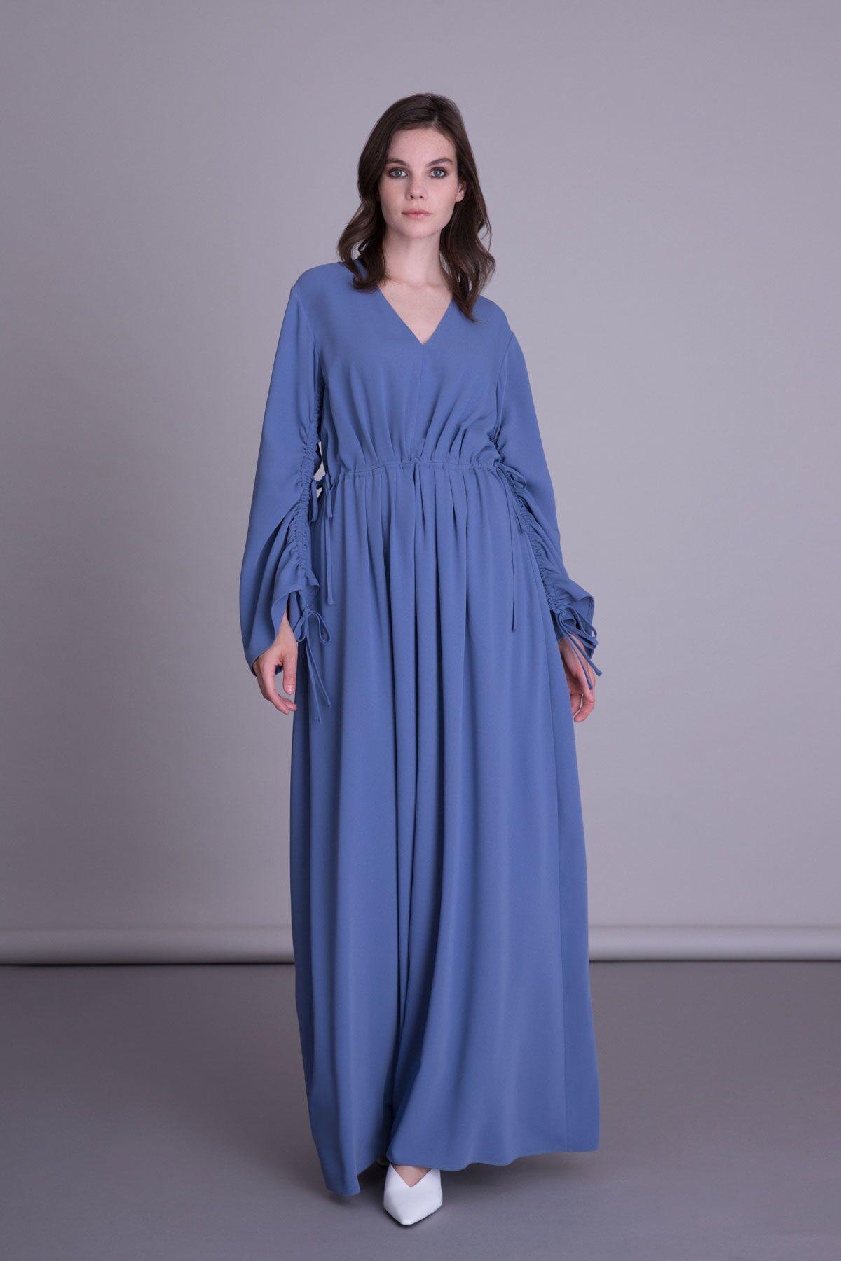V Yaka Uzun Mavi Kumaş Elbise