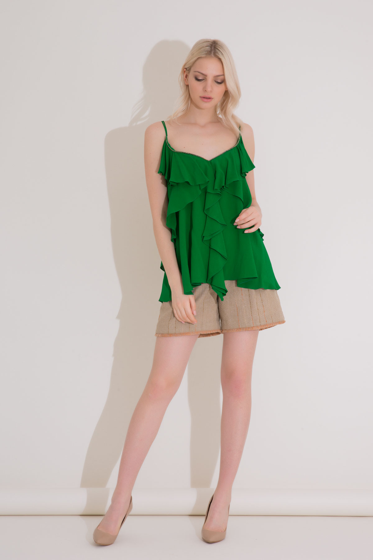 Volan Detaylı Askılı Yeşil Bluz