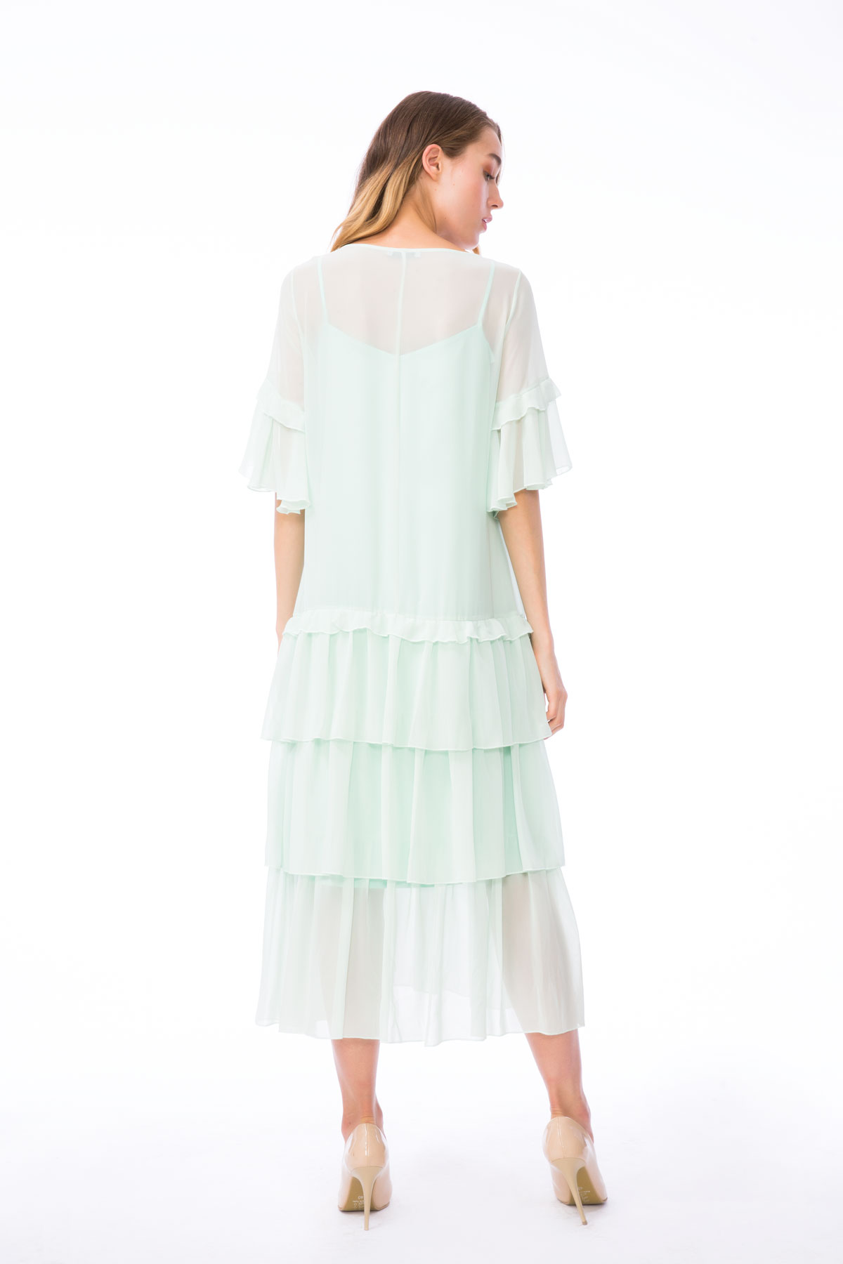V Yaka İşleme Detaylı Fırfırlı Mint Elbise