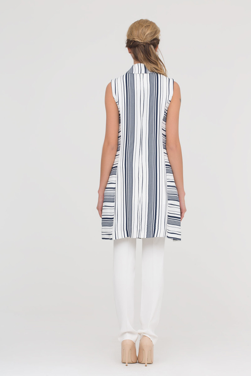 Waistcoat With Stripe In White