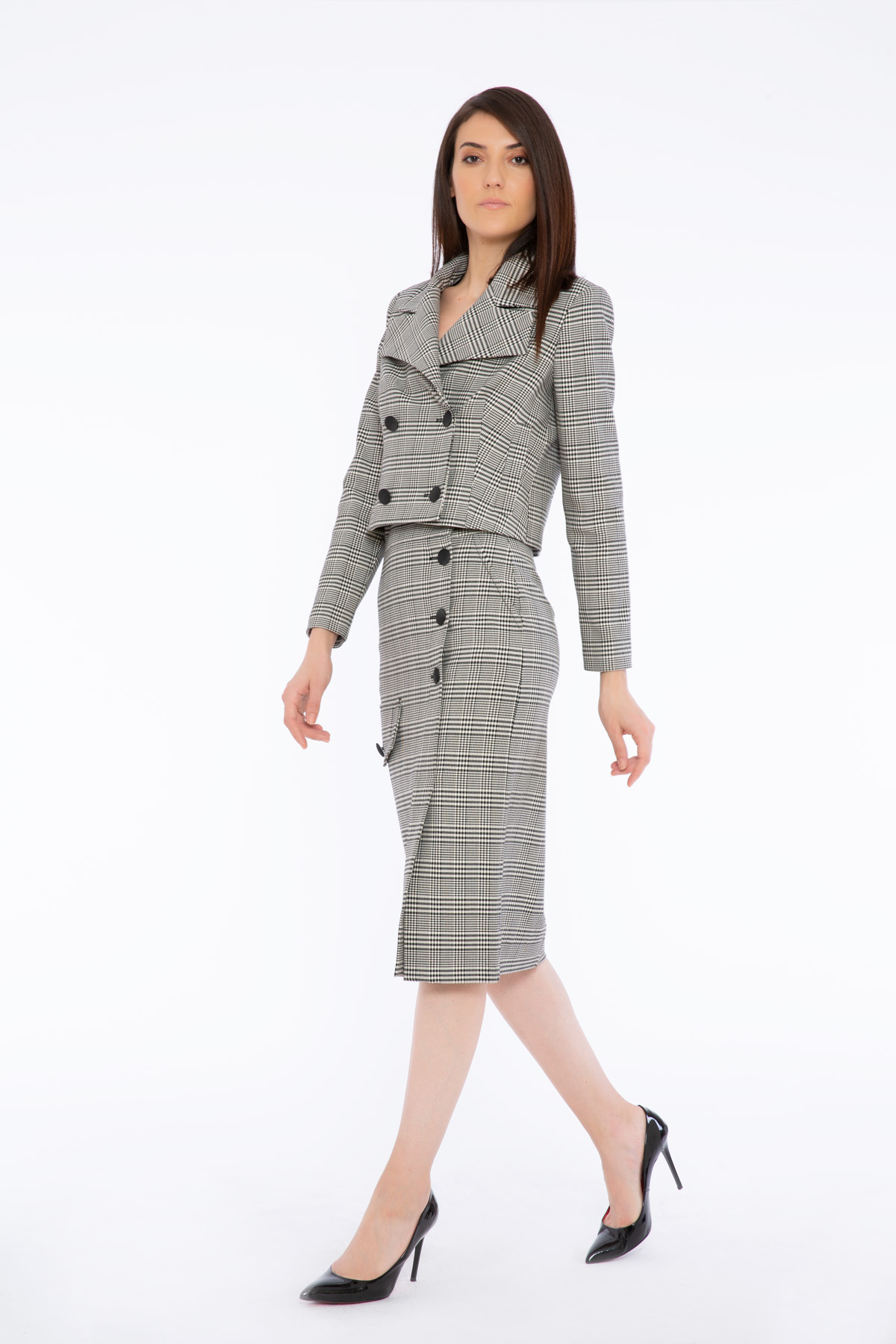 Wide Collar Short Double Breasted Jacket