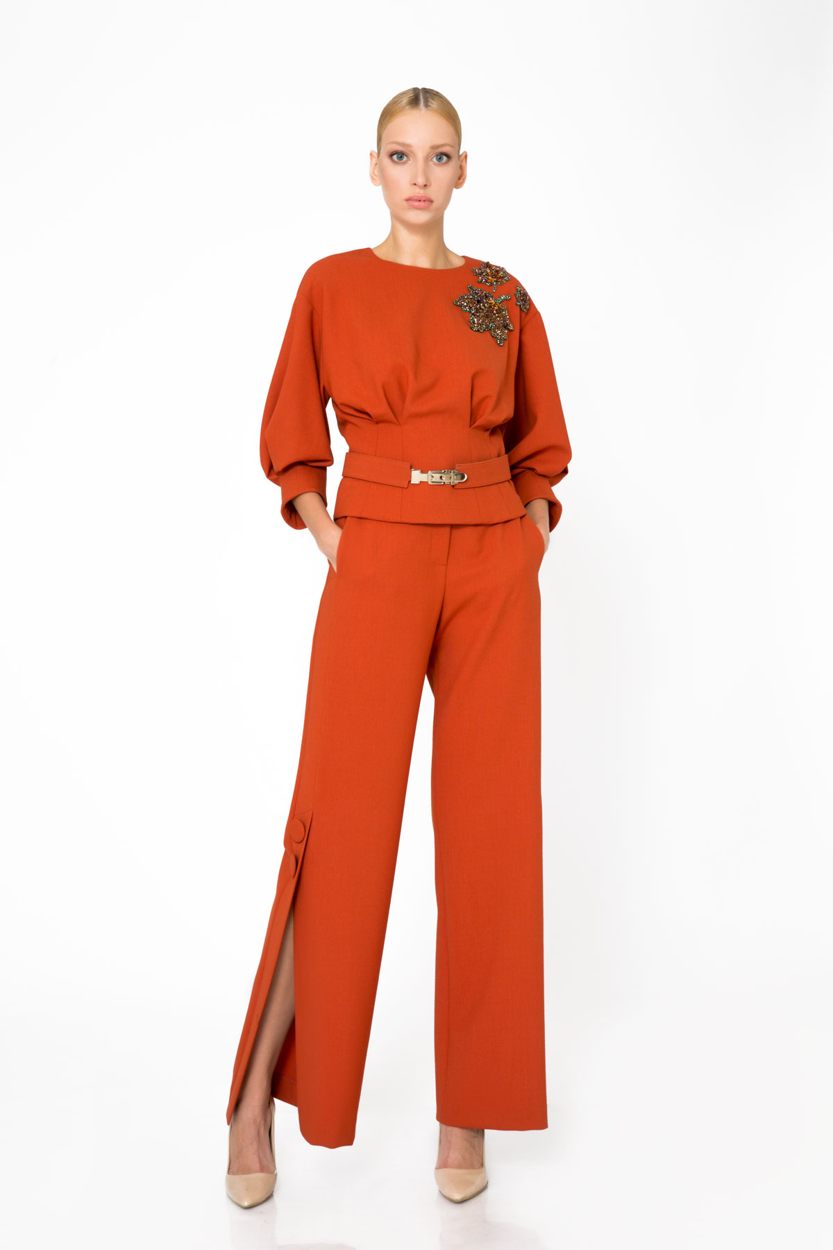 Wide Leg Orange Trousers With Slit