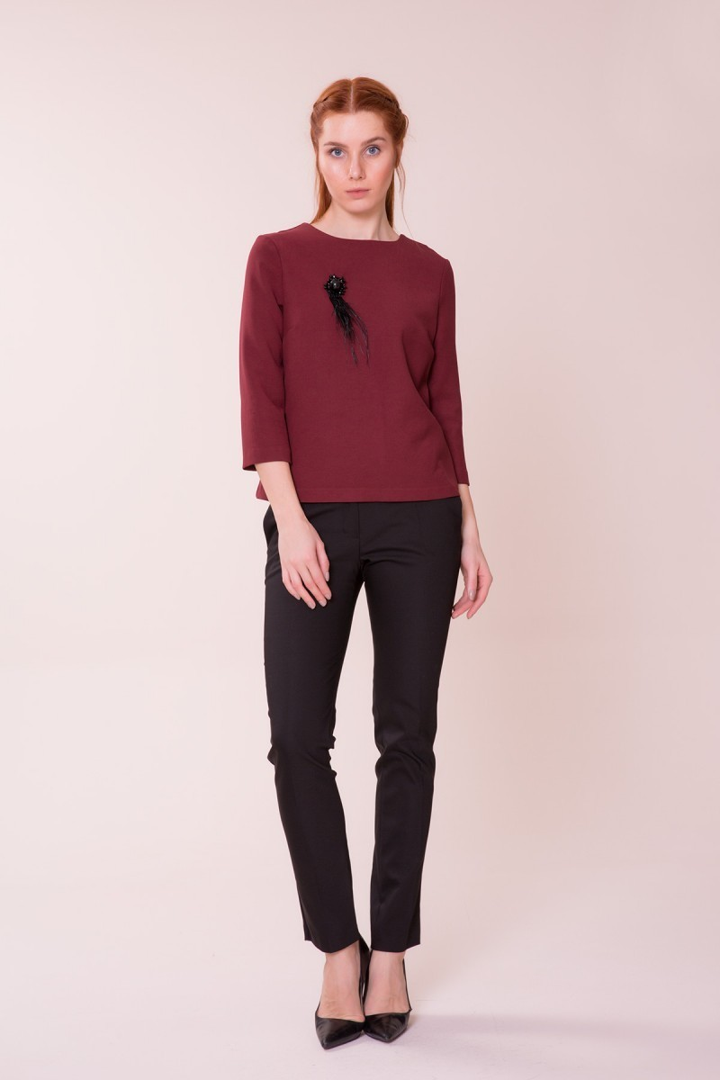 Wine Red Colored Blouse-Trousers Suit