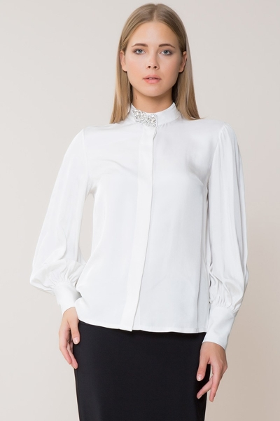 GIZIA - Yaka Taş Detaylı Beyaz Gömlek