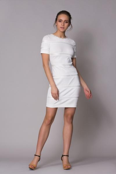 GIZIA SPORT - Yaka Taş Detaylı Beyaz Spor Elbise