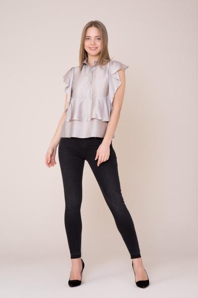 GIZIA CASUAL - Yaka Taş ve Fırfır Detaylı Bej Bluz