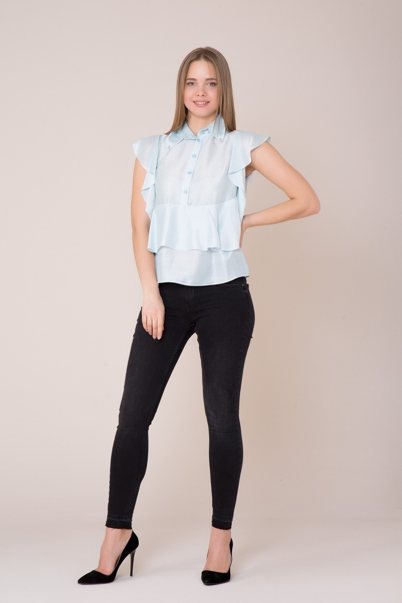GIZIA CASUAL - Yaka Taş ve Fırfır Detaylı Bluz