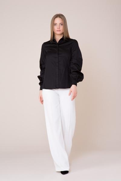 GIZIA - Yaka ve Sırt Güpür Detaylı Siyah Gömlek