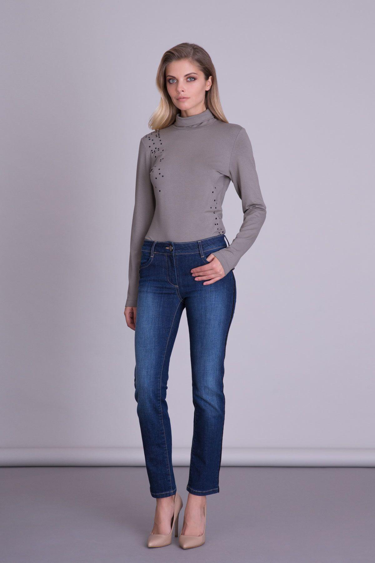 Yan Şerit Detaylı Boru Paça Jean Pantolon