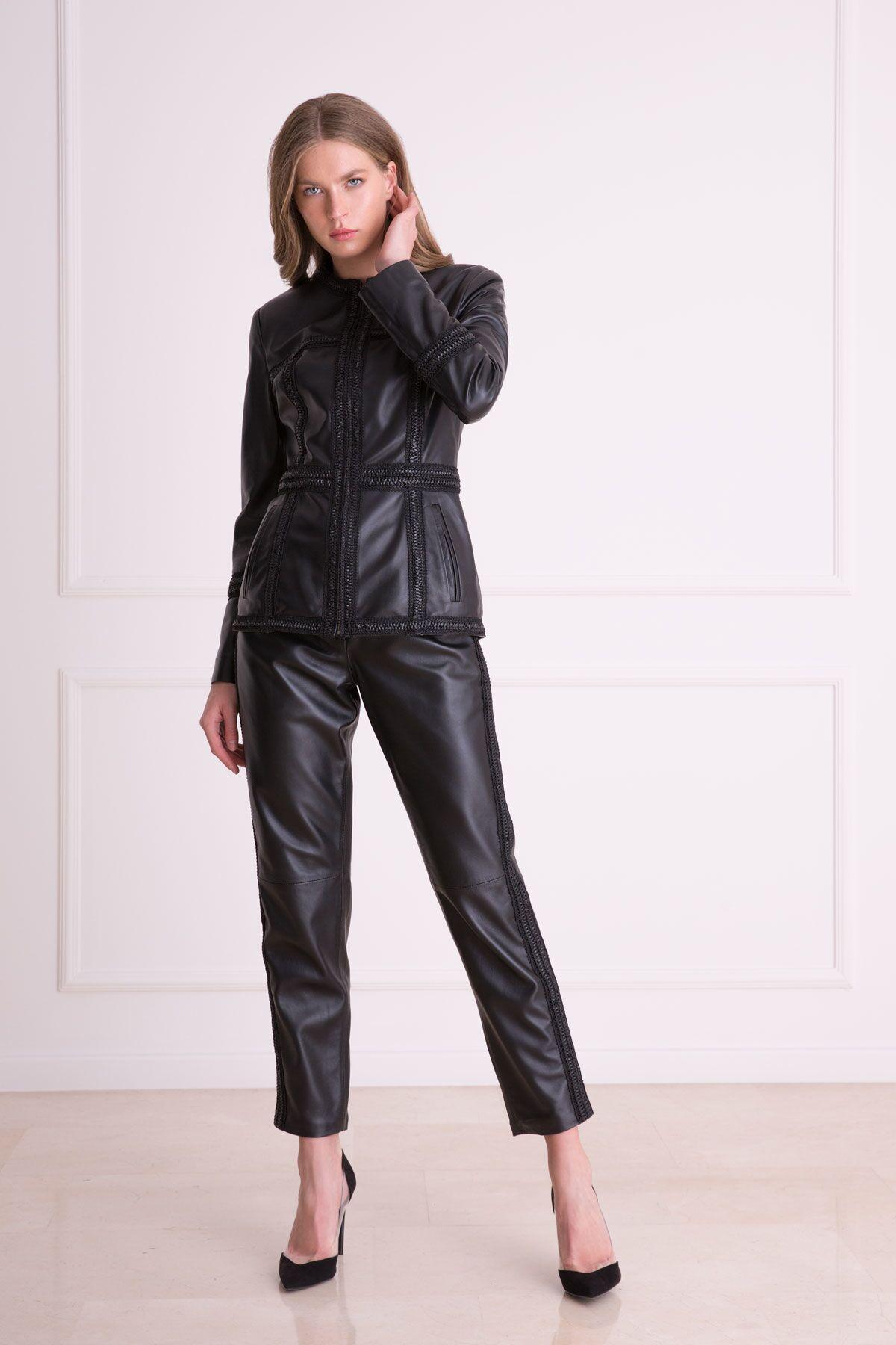 Yan Şerit Detaylı Siyah Deri Pantolon