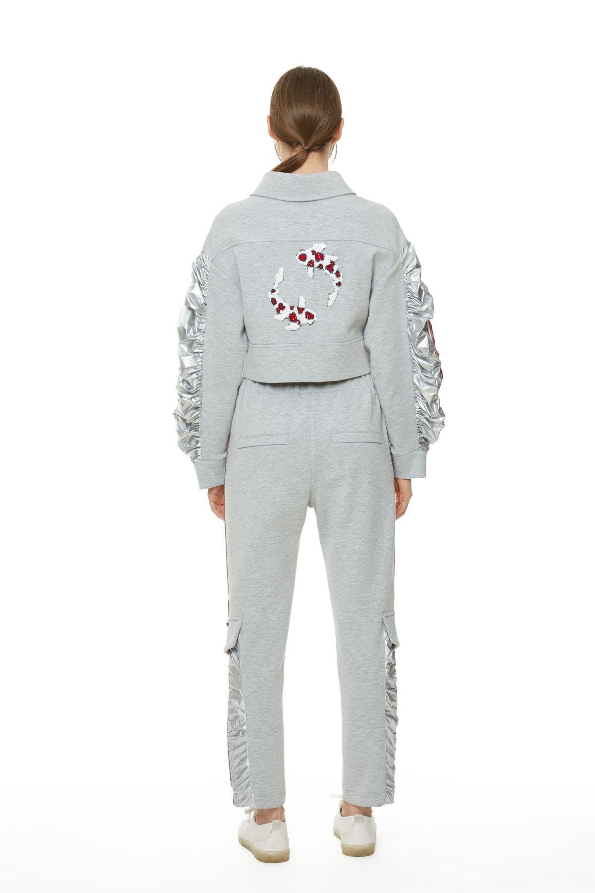 Yandan Şeritli Metalik Kumaş Detaylı Kargo Pantolon