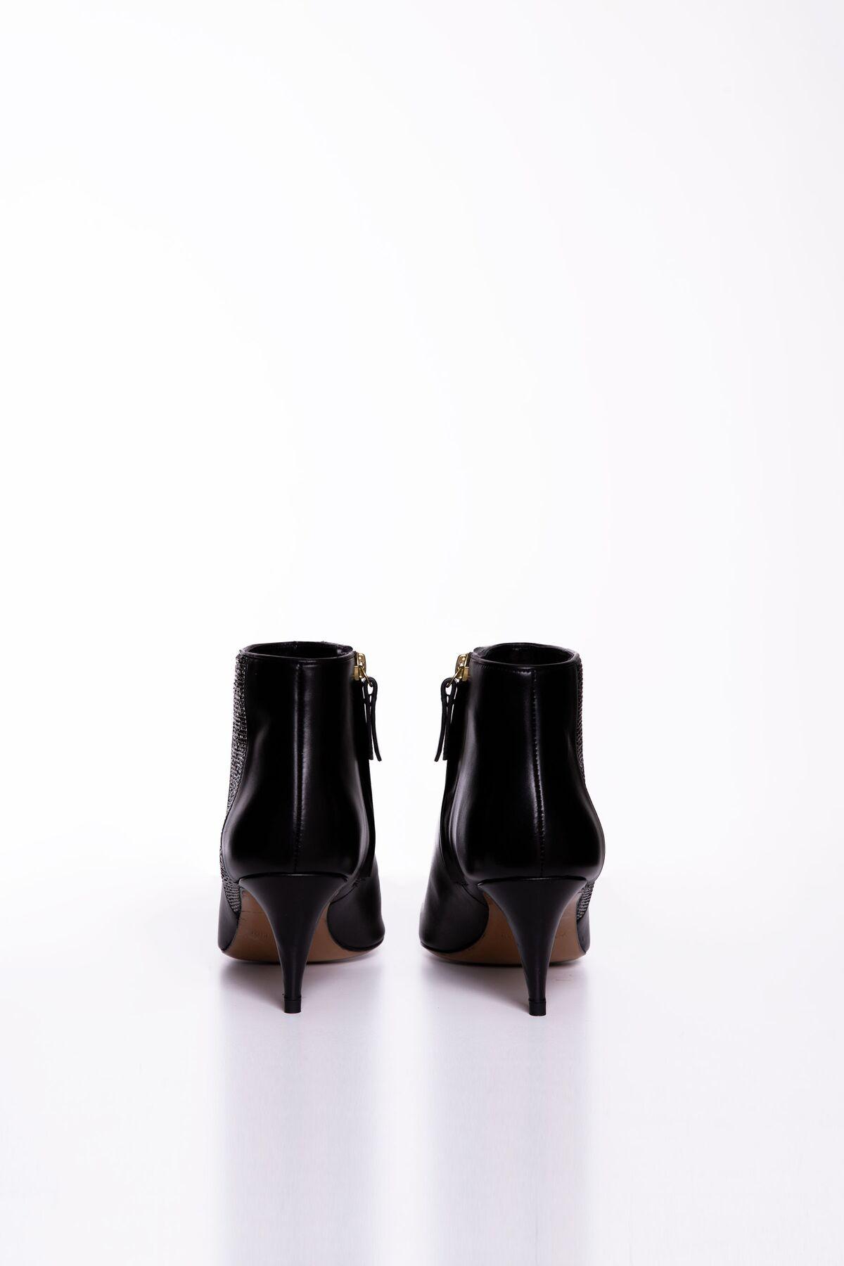 Yanları Işıltı Detaylı Topuklu Siyah Bot