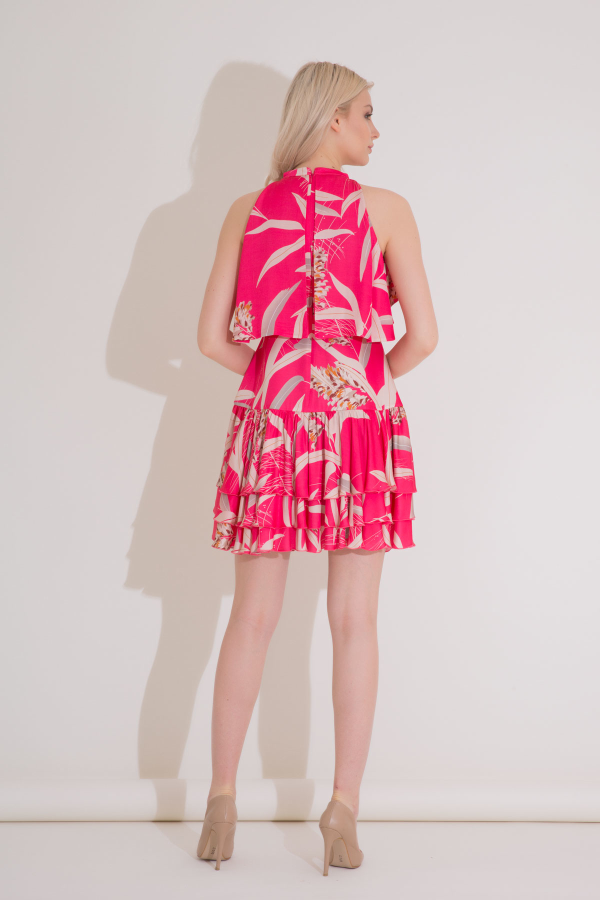 Yaprak Desenli Fırfırlı Pembe Mini Elbise